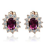 HKTC Amethyst Purple Crystal Sun Flower Clip-on Earrings 18k Rose Gold Plated Fashion Jewelry