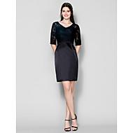 Short/Mini Lace / Stretch Satin Bridesmaid Dress - Black Plus Sizes / Petite Sheath/Column V-neck