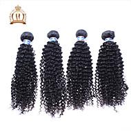 """4pcs lot 12-26 """"unverarbeitete malaysisches reines Haar verworrene lockige wellenförmige lockige natürliche schwarze remy Menschenhaar"""