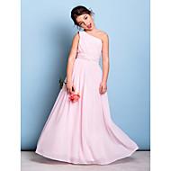 Lanting Bride Floor-length Chiffon Junior Bridesmaid Dress A-line One Shoulder with Beading / Sash / Ribbon / Side Draping