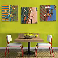 e-home® strukket lerret kunst små te tabellen blomster dekormaling sett med 3
