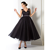 TS Couture Formal Evening Dress - Black Plus Sizes / Petite A-line / Princess V-neck Tea-length Tulle