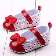 Jente Baby Flate sko Første gåsko Tekstil Vår Høst Avslappet Formell Første gåsko Sløyfe Rød Rosa