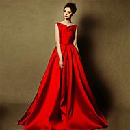 Formal Evening Dress - Burgundy A-line Bateau Floor-length Satin