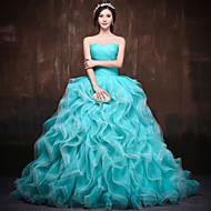 Vestido - Azul de céu claro/Melancia Festa Formal Baile Curação Cauda Longa Cetim/Tule/Poliéster