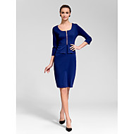 Cocktail Party Dress - Royal Blue Sheath/Column Square Knee-length Polyester