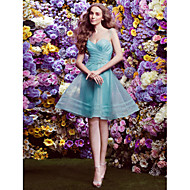 Bridesmaid Dress Knee-length Organza A-line V-neck Dress