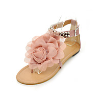 Women's Sandals Spring Summer Fall PU Outdoor Dress Casual Flat Heel Beading Buckle Flower Beige Blue Blushing Pink