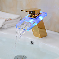 LED Color Changing Waterfall Glass Spout Bathroom Sink Faucet - Transparent green + Gold