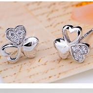 Unisex clover Silver Stud Earrings