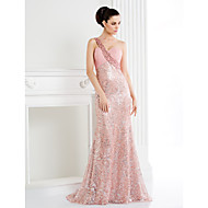 TS Couture® Formal Evening Dress - Trumpet/Mermaid One Shoulder Sweep/Brush Train Sequined