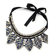 Women's European Style Fashion Collar Leaves Necklace With Rhinestone