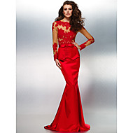 Formal Evening Dress - Ruby Trumpet/Mermaid Jewel Sweep/Brush Train Lace/Stretch Satin