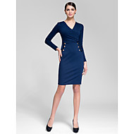 Cocktail Party Dress - Ink Blue Sheath/Column V-neck Knee-length Polyester
