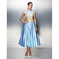 TS Couture Dress - Sky Blue Plus Sizes / Petite Ball Gown Bateau Tea-length Satin