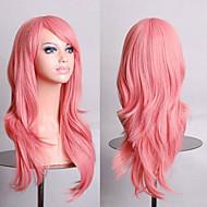 Peluca de seda de alta temperatura de 70 cm de largo volumen de aire pelo rosa humo rizado