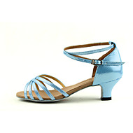 Customizable Women's/Kids' Dance Shoes for Latin/Salsa with Chunky Heel in Blue