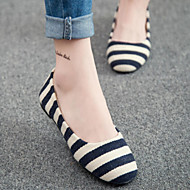נעלי נשים אביב דירות העקב השטוח חדשות הבוהן עגולה פס הנוחות מזדמנת שחור / כחול / אדום