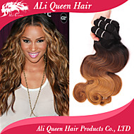 Ali Queen Hair Products 3 Tone 1b#/4#/27# Ombre Brazilian Virgin Hair Body Wave 3Pcs Free Shipping