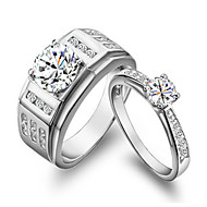 0.85ct Male Ring 0.5CT Female Ring SONA Simulate Diamond Couple Ring Jewelry Engagement Sterling Silver Rings for Couple