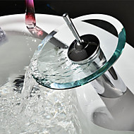 Contemporary Fashion Bathroom Glass Circle Waterfall Basin Faucet