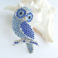 Women Accessories Silver-tone Blue Rhinestone Crystal Brooch Art Deco Bird Owl Brooch Women Jewelry