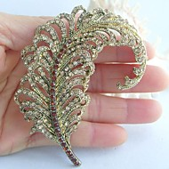 Women Accessories Gold-tone Topaz Rhinestone Crystal Leaf Brooch Art Deco Crystal Brooch Bouquet Women Jewelry