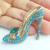 Women Accessories Gold-tone Turquoise Rhinestone Crystal High-heeled Shoes Brooch Art Deco Women Jewelry