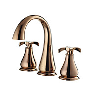 Contemporary Rose Gold Finish Brass Three Hole Two Handle Bathroom Sink Faucet