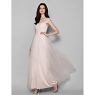 Lanting Floor-length Tulle Bridesmaid Dress - Pearl Pink Plus Sizes / Petite Sheath/Column Queen Anne