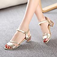 נעלי נשים - סנדלים / בלרינה\עקבים - דמוי עור - נעלים עם פתח קדמי - כסוף / זהב - שטח / שמלה / קז'ואל - עקב עבה