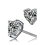 925 Sterling Silver Heart-Shaped Diamond Stud Earrings
