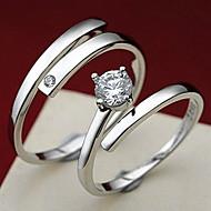 Anéis,Prata de Lei Ajustável Pesta Jóias Prata de Lei Feminino Anéis Statement 1pç,Tamanho Único Prateado