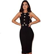 Women Cocktail Evening Party Dress Sheath/Column Jewel Short/Mini Nylon Taffeta Printing Celeb Bandage Dress