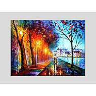 peintures à l'huile paysage moderne rue des pluies matériau de toile avec châssis en bois prêt à accrocher taille: 60 * 90cm. .