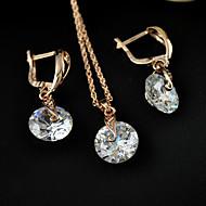 Women's fanshion Jewelry set of  high-end fashion zircon earrings necklace set super flash large zircon