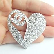 Women Accessories Wedding Silver-tone Clear Rhinestone Crystal Love Heart Brooch Wedding Deco Crystal Brooch