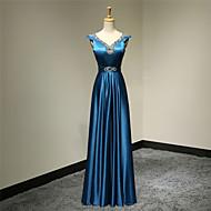 Formal Evening Dress - Ink Blue Plus Sizes / Petite A-line V-neck Floor-length Satin