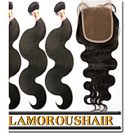 4Pcs Lot Virgin Human Hair Weaves Body Wave Hair Weft Peruvian Hair 3 Bundles With Lace Closure Natural Black Color