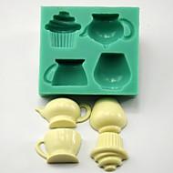 čajová konvice šálek košíček ve tvaru fondant bábovka čokoládu Silikonová forma / dekorace nástroje pro kuchyně pečení
