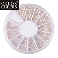 Mixed-Size Semicircle White Pearl Nail Art Decorations