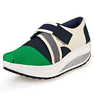 Women's Spring / Summer / Fall / Winter Platform / Crib Shoes Canvas Office & Career / Casual Wedge Heel Magic Tape / Slip-onBlue / Green