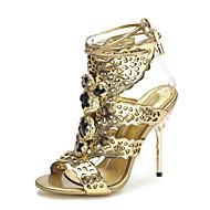 FemininoSaltos / Chanel / Gladiador / Bico Aberto-Salto Agulha-Prateado / Dourado-Couro-Festas & Noite / Social / Casual