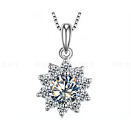 1CT Sunflower Pendant Slide SONA Simulate Diamond for Fiancee Surprise 925 Silver Necklace Pendant 18K White Gold Plated
