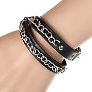 Unisex Western Style Fashion Chain Bracelet Faux Leather