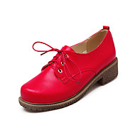 Women's Shoes Chunky Heel Ankle Strap/Closed Toe Oxfords Outdoor/Office & Career/Casual Black/Red/White