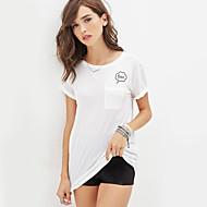 Kortermet T-skjorte Rund hals Polyester Kvinner