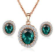 Schmuckset Kristall Imitation Smaragd Krystall Kubikzirkonia Imitation Diamant Aleación Halsketten Ohrringe FürHochzeit Party Alltag