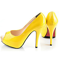 Women's Shoes Leather Stiletto Heel Heels/Peep Toe/Platform Sandals Wedding/Party & Evening/Dress Black/Yellow