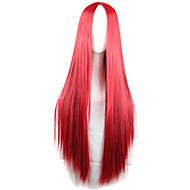 cabelo longo reto cor do cabelo vermelho vermelho longo perucas onda perucas de cabelo estilo de moda sintético